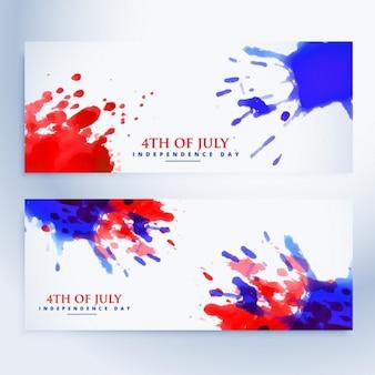 4 de bandeiras de julho com salpicos de tinta