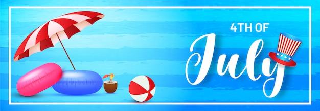 4 de cabeçalho de celebração de julho ou banner design