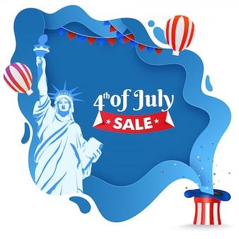 4 de cartaz de venda de julho ou modelo de design com a estátua do libert