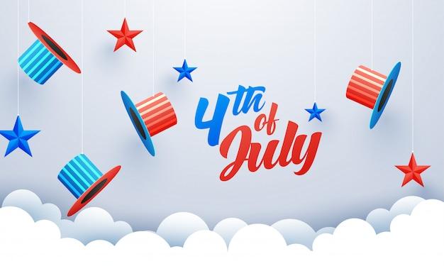 4 de celebração de julho com chapéus de tio sam