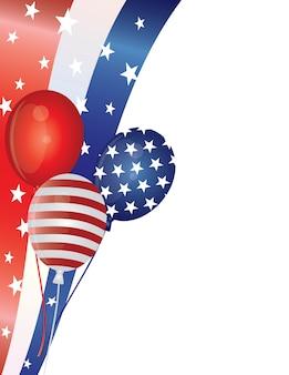 4 de julho balões com ilustração de fronteira