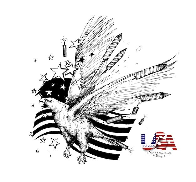4 de julho - bandeira americana com dia da independência eagel, ilustração em vetor esboço desenhado à mão.