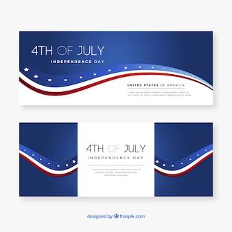 4 de julho banners com bandeira americana