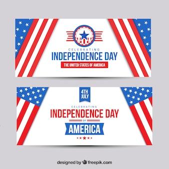 4 de julho banners com bandeiras americanas