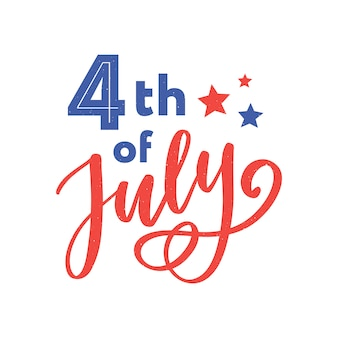 4 de julho. caligrafia de dia da independência feliz