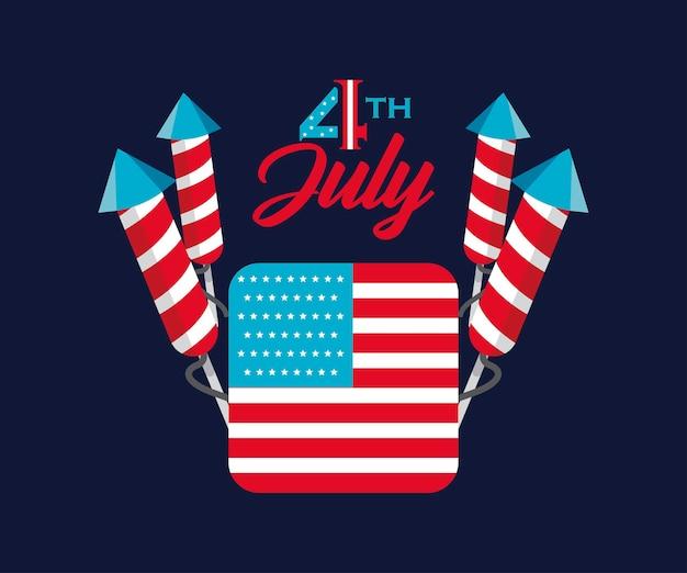4 de julho cartão com fogos de artifício