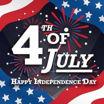 4 de julho cartão postal de saudações americano com fogos de artifício