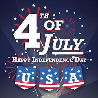 4 de julho cartão postal de saudações americano com noite de fogos de artifício