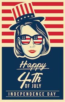 4 de julho cartaz com elementos americanos