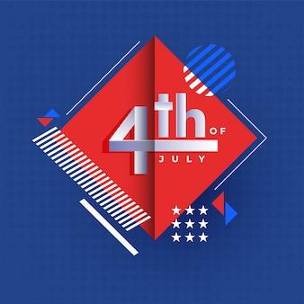 4 de julho, cartaz do dia da independência ou modelo de design com abs