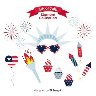 4 de julho - coleção de elemento do dia da independência