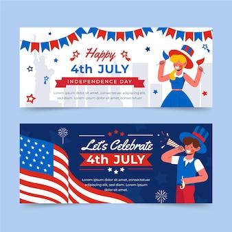 4 de julho - conjunto de banners do dia da independência