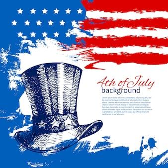 4 de julho de fundo com a bandeira americana. projeto desenhado à mão vintage para o dia da independência