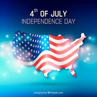 4 de julho de fundo com mapa e bandeira
