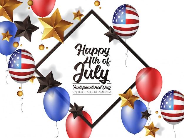 4 de julho dia da independência américa com balão realista