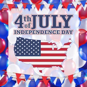 4 de julho dia da independência balão fundo
