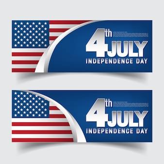 4 de julho dia da independência banner conjunto