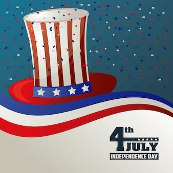4 de julho, dia da independência, chapéu alto, bandeira, eua, confeti