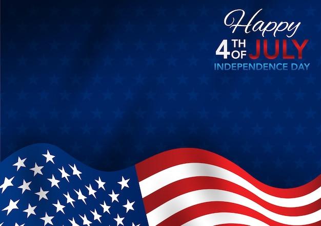 4 de julho dia da independência com a bandeira americana de ondulação