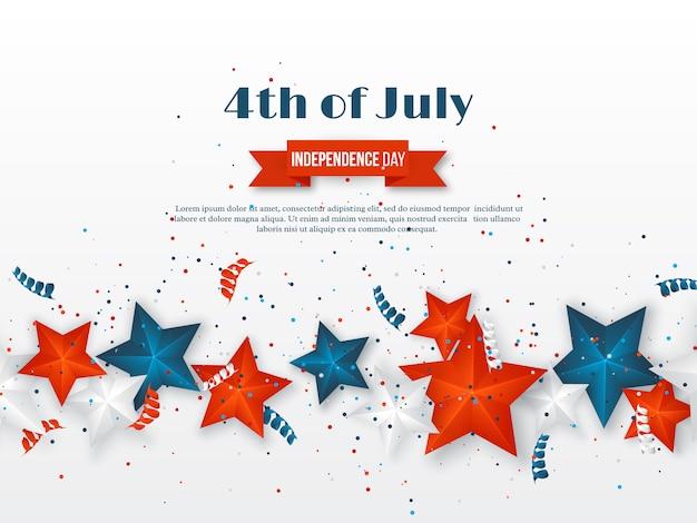 4 de julho - dia da independência da américa. fundo de férias americano. estrelas 3d em cores nacionais com serpentina e confetes