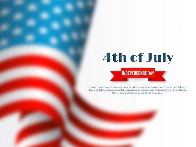 4 de julho - dia da independência da américa. fundo de férias. efeito de desfoque 3d bandeira de ondulação americana em branco
