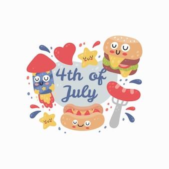 4 de julho, dia da independência do estado unido, com texto