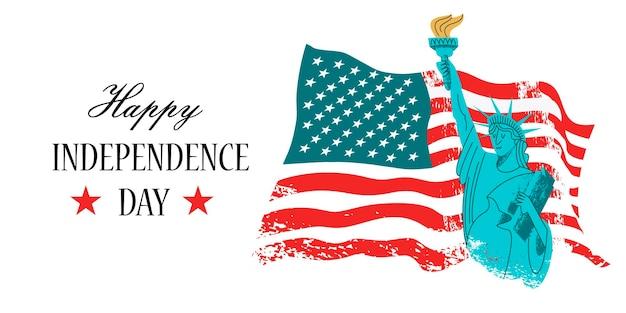 4 de julho, dia da independência. estátua da liberdade com uma tocha na mão