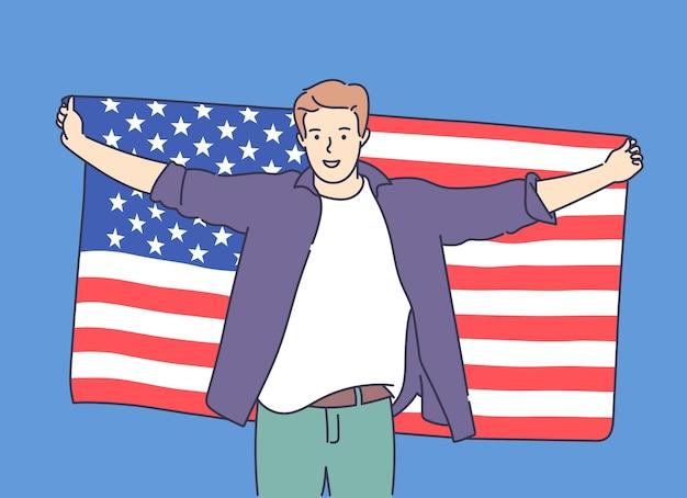 4 de julho, dia da independência, liberdade, democracia jovem homem feliz e animado segurando uma grande bandeira dos eua e comemorando ilustração vetorial plana