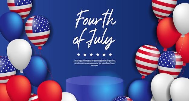 4 de julho dos eua, cerimonial do dia da independência americana com exibição de produto no pódio e modelo de banner de celebração de festa em balão colorido