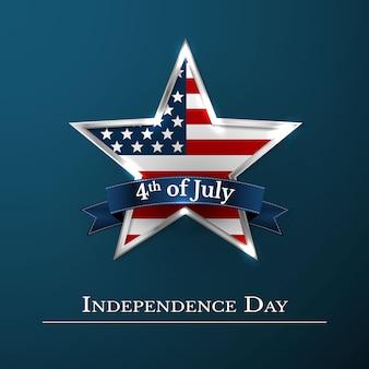 4 de julho estrela dos eua nas cores nacionais da américa. dia da independência.
