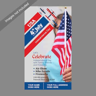 4 de julho eua dia da independência modelo de convite com show aéreo, bike parade e atração de fogos de artifício.