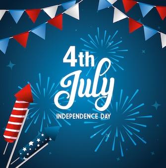 4 de julho feliz dia da independência com fogos de artifício e decoração