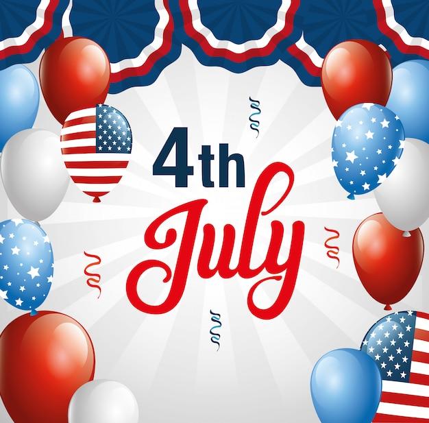 4 de julho feliz dia da independência com hélio de balões