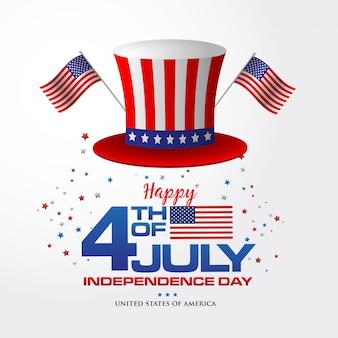 4 de julho. feliz dia da independência de fundo da américa com bandeira e chapéu americano, símbolo da américa