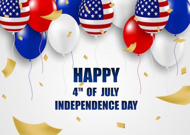 4 de julho feliz dia da independência eua. design com balões .vector.