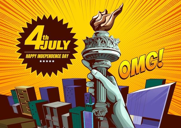 4 de julho, feliz dia da independência ilustração