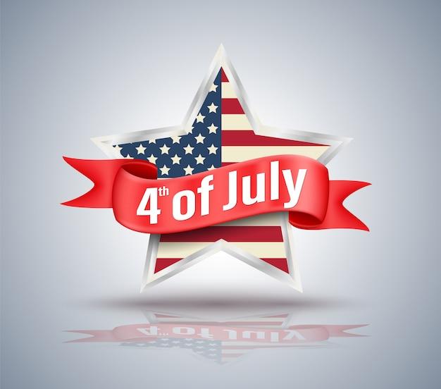 4 de julho fita vermelha com estrela dos eua