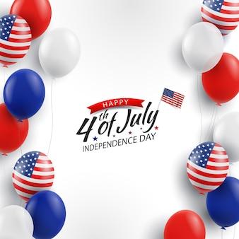 4 de julho, fundo com balões