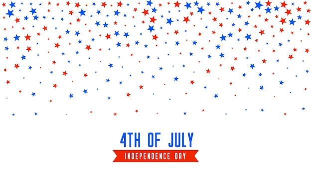 4 de julho, fundo com confete de estrelas cadentes