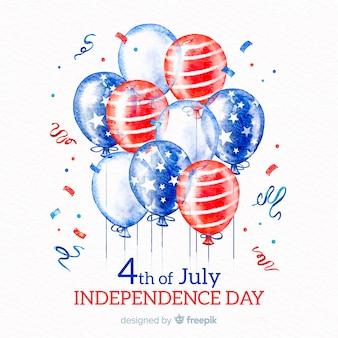 4 de julho - fundo de dia da independência com balões