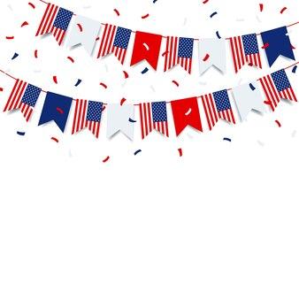 4 de julho garland com a bandeira dos eua