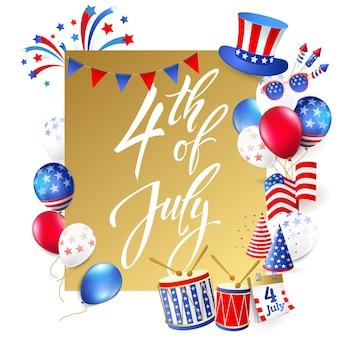 4 de julho, ilustração do dia da independência