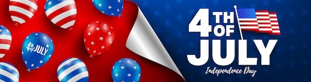 4 de julho modelo de banner. celebração do dia da independência dos eua com bandeira americana de balões.