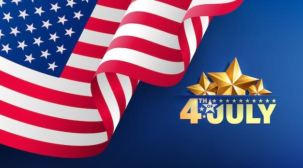 4 de julho modelo de banner. celebração do dia da independência dos eua com bandeira americana.