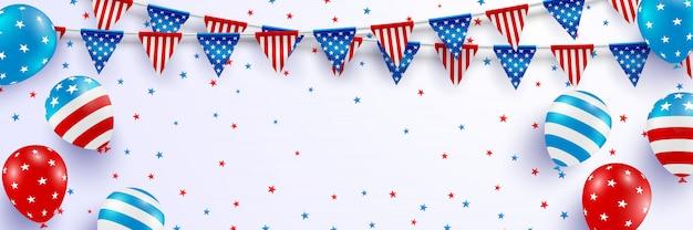 4 de julho modelo de guarda-costas. celebração do dia da independência dos eua com balões e guirlanda de bandeira do triângulo americano.