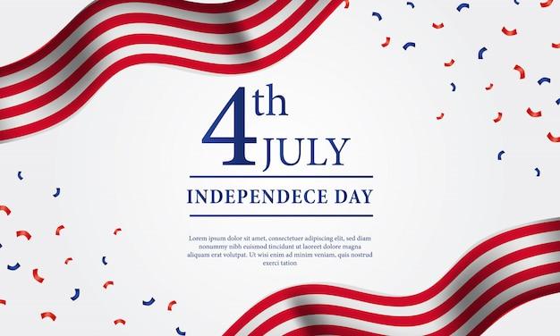 4 de julho modelo de panfleto de dia da independência americana com bandeira