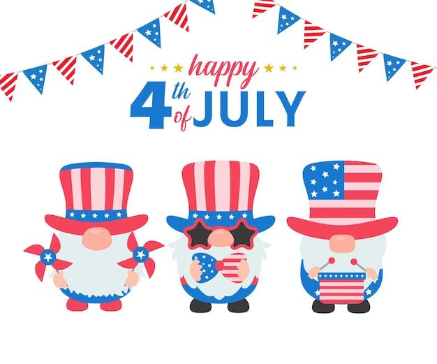 4 de julho. os gnomos usaram uma fantasia da bandeira americana para celebrar o dia da independência.