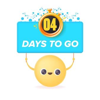 4 dias para ir para o modelo de design de banner com um rosto sorridente segurando a contagem regressiva
