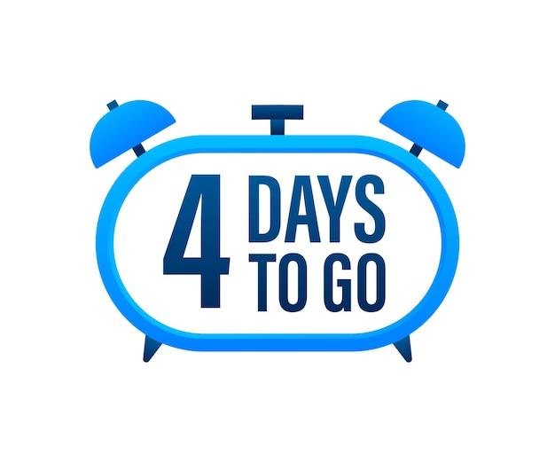 4 dias para ir. temporizador de contagem regressiva. ícone do relógio. ícone de tempo. venda de tempo de contagem. ilustração em vetor das ações.