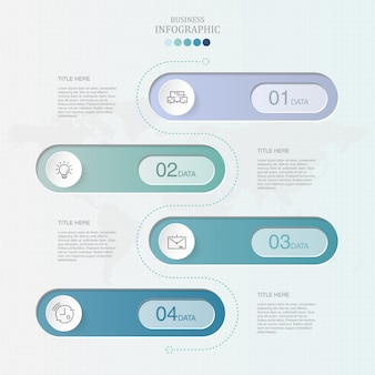 4 elemento e cores azuis infográfico para o conceito de negócio.